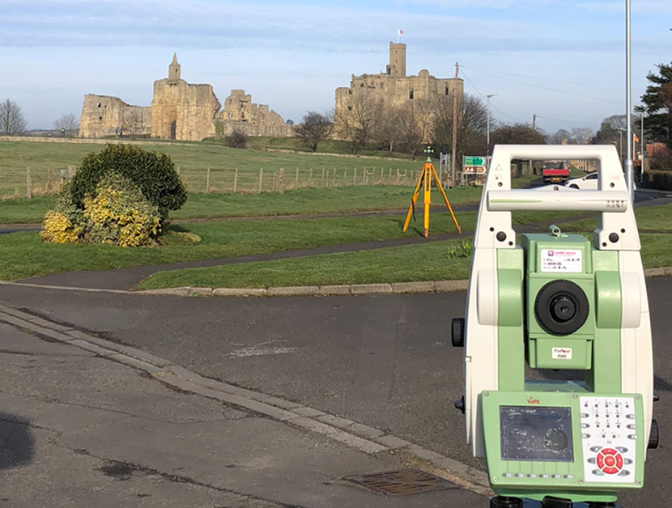 Warkworth Castle surveying